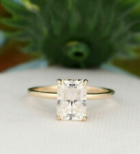 1.5CT Solitaire Radiant Cut D White Simulated Moissanite 14K Yellow Gold Fn Ring