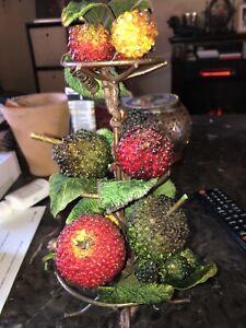 Vtg Lot BEADED PIN FRUIT Strawberries Apple Pear Strawberry Beautiful Piece LOOK