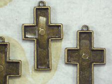 4 Cross Bezel Edge Trays Settings Pendant Frame Bronze Tone Glue In #P1909