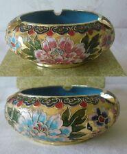 Vintage Chinese Cloisonne Ashtray Champleve Enamel Gilt Gold Blue Enamel w/BOX