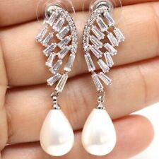 Gorgeous 11mm Pear White Pearl Earrings Wedding Engagement Birthday Jewelry Gift