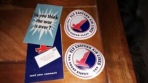 1940's Eastern AIrline Ephemera Lot-Stickers, Postcard, Ticket & Baggage Check,
