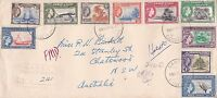 Gilberts: 1956 QEII set of 10 ½d to 2/6d on 1957 reg'd cover to Australia ST272