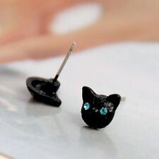 NWT Black Kitty/cat With Blue Crystal Eyes Earring