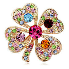 Lucky Four Leaf Clover Crystal Rhinestone Diamante Brooch Gold Tone: 3.5cm NEW