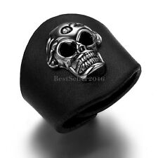 Skull Head Inlaid Wide Black Leather Punk Men's Ring Unique Boys Birthday Gift