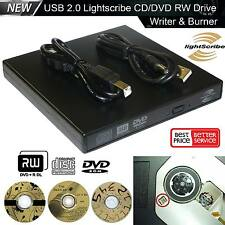 NUOVO USB 2.0 esterne LightScribe DVD Bruciatore Scrittore Lettore CD PER PC WINDOWS MAC