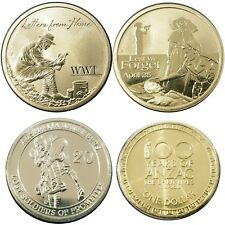 Australia 4 Different ANZAC War Commemorative Coins UNC All Capsulated & Carded