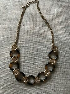 J Crew Link Necklace Tortoise and Gold Flowers