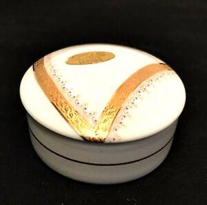 Limoges France Letoile Porcelain Trinket Box Artist Signed 22K Gold Trim