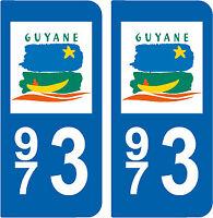Département 973 sticker 2 autocollants style immatriculation AUTO PLAQUE