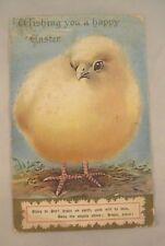 Embossed Easter Postcard - Large Chick - Wishing You A Happy Easter