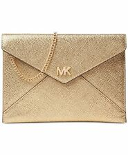 MICHAEL Kors Pale Gold Leather Barbara Soft Envelope Clutch Evening Purse Bag