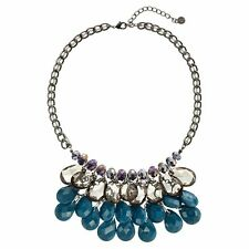 NEW! Simply VERA WANG Jet Tone Turquoise Bib Necklace FREE SHIPPING!