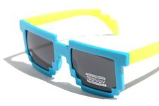 Novelty Nerd Geek Gamer Colorful 2-Tone SunGlasses Pixelated 8-Bit Blue Yellow