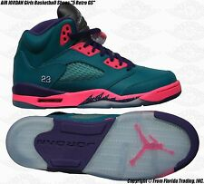 "NIKE AIR JORDAN Girls Basketball Shoes ""5 Retro GS""(7Y)Tropocal Teal 440892-307"