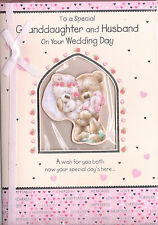 To A Special Granddaughter And Husband On Your Wedding Day Card 3 Fold Card.