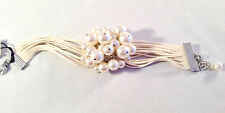 New Faux Pearl Cluster & Cream Srting Cotton Fabric Adjustable Cuff Bracelet