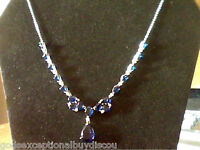 14K WHITE GOLD PL 20CTW LCS SAPPHIRE & LCS DIAMOND DROP NECKLACE + FREE EARRINGI