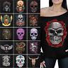 NEW Sugar Skulls Day Of Dead Off The Shoulder Slouchy Sweatshirt Oversized BLACK