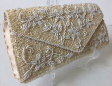Vintage Beaded Sequin Clutch Purse Ivory White Hong Kong Evening Bag Envelope