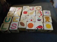 Lot of 23 handmade wooden blocks w handpainted pics/letters/numbers