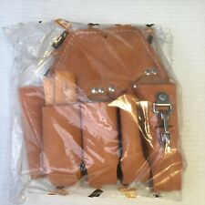Wm Bashlin 111 Hlds Linemens 5 Pocket Holster Tan Leather Tool Pouch New In Bag