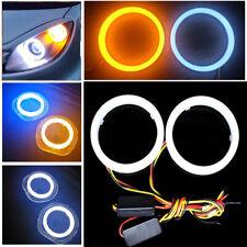 2Pcs Car White Amber 60MM LED Angel Eyes Halo Rings Headlight DRL Light Retrofit