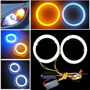 2Pcs Car White Amber 60MM LED Angel Eyes Halo Rings Headlight DRL Light Retrofit