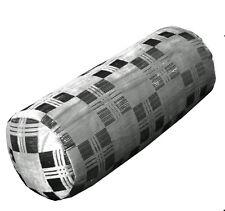 mq08g Silver Metallic Ash Grey Black Checker Shimmer Velvet Bolster Cover Case