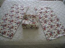 FLORAL COLONIAL MULTI~COLORED FLANNEL KING FLAT SHEET W/ PILLOWCASES #237