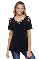 Black Crisscross Strap V-Neck Cold Shoulder Stretch Knit Top