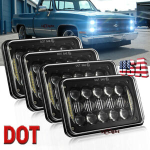 """DOT Approved 4pc 4×6"""" LED Truck Headlights Hi/Lo Beam For Chevy Pickup 1981-1987"""