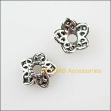 70Pcs Tibetan Silver Tone Tiny Flower Star Spacer Beads End Caps 8mm