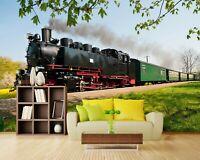 3D Tree Train Smoke R69 Transport Wallpaper Mural Sefl-adhesive Removable Zoe