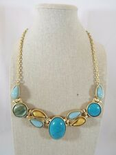 Turquoise Color Plastic Cabochon Gold Tone Bib Necklace