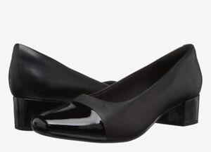 Clarks Chartli Diva Women's 10W Leather Block Heels Slip on Shoes Black New