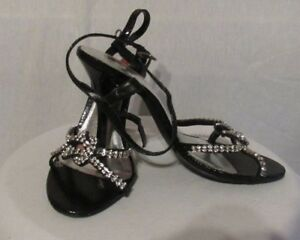 NEW CELESTE/LISA BLACK WOMENS SIZE 8M OPEN TOE STRAPY HIGH HEEL SHOES W/SPARKLES