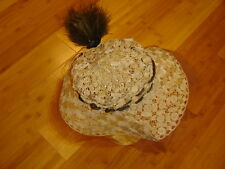 Vintage Edwardian Teens crochet straw hat brimmed White House Sf