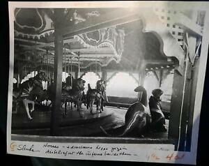 4/26/1984 IDORA PARK Carousal Horses & Dinos gaze at burning  Park press photo