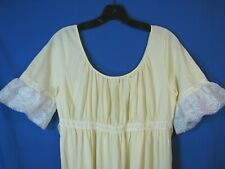 Colony Club Vtg Yellow Frilly Nightgown Negligee White Lace Lingerie Ruffle S