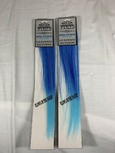 New Hot Topic Color Fiend Clip In Synthetic Hair Extensions Blue Glow 2 Packs