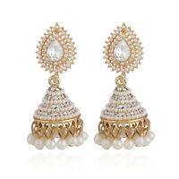 Retro Indian Earrings Pearl Pendant Jhumka Drop Dangle Ear Stud Wedding Jewelry