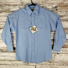 NWT Ely Cattleman Western Pearl Snap Men Button Down Shirt Long Sleeve Blue Sz M