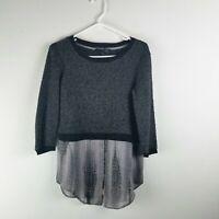 Elie Tahari Womens Long Sleeve Textured Sweater Top Gray Size XS