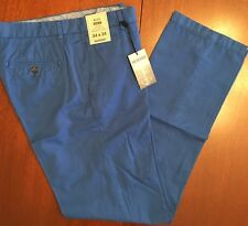 NWT Murano ALEX Slim Fit Mens 34x34 Flat Front CottonLinen Pants $79 COBALT BLUE