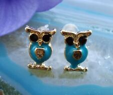 Studs Owl Turquoise Blue Enamelled Golden Color Gold Plated Earring