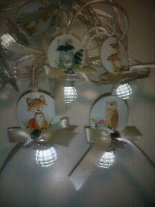 12 Woodland Animals Baby Shower Pacifier Necklaces Favors Ivory