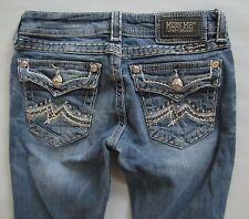 Miss Me Jeans 27 30 Boot Cut Flap Pocket Medium Blue Low Distressed Denim Buckle