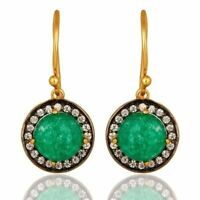 18K Gold Plated Sterling Silver Pave CZ And Green Aventurine Dangle Earrings